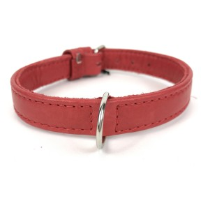 BASIC LEATHER COLLAR RED
